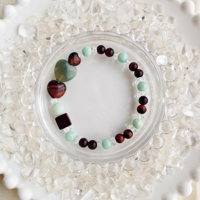 チョコレートカラーの天然石ブレス ミントチョコレート(ミントグリーン)【送料82円〜】