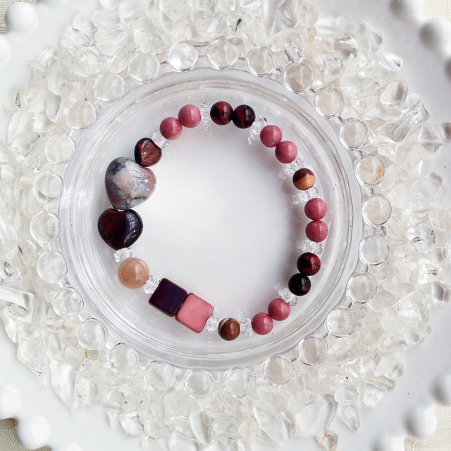 チョコレートカラーの天然石ブレス ストロベリーチョコレート【送料82円〜】