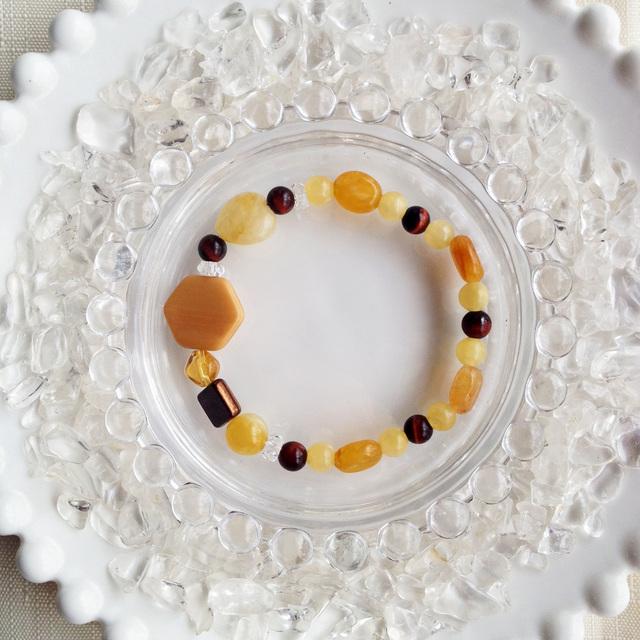 チョコレートカラーの天然石ブレス ハニー&チョコレート【送料82円〜】