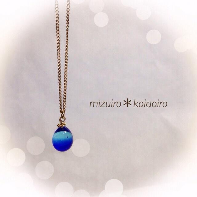 【再販】R-83 一粒のしずく☆ガラス玉のネックレス ブルー