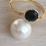 cotton pearl&black stone ring