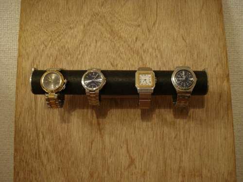 壁付き腕時計スタンド!ブラック4本掛けウォッチ収納スタンド