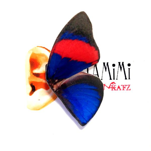 Ukatz KATAMiMi NO.K80-1 蝶のイヤーカフ(レッド×ブルー)