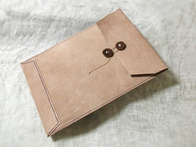 床革のマニラ封筒v2 A4ファイル対応