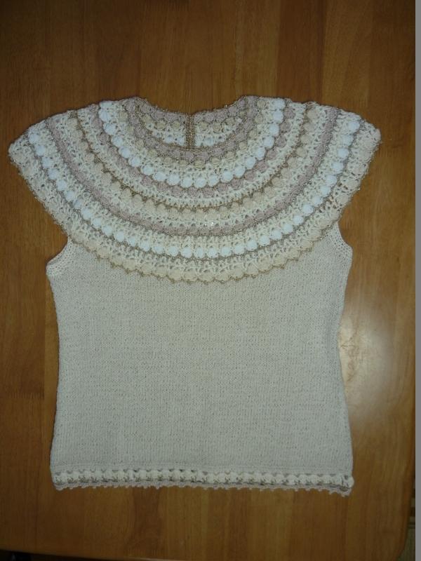 かぎ針丸ヨークフレンチスリーブセーター