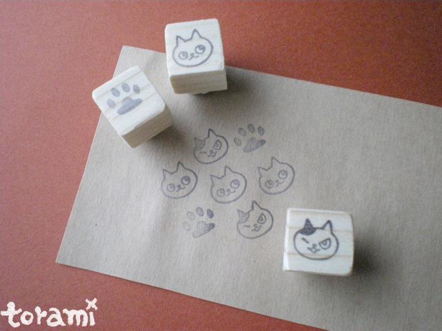 猫の顔+肉球のはんこセット3