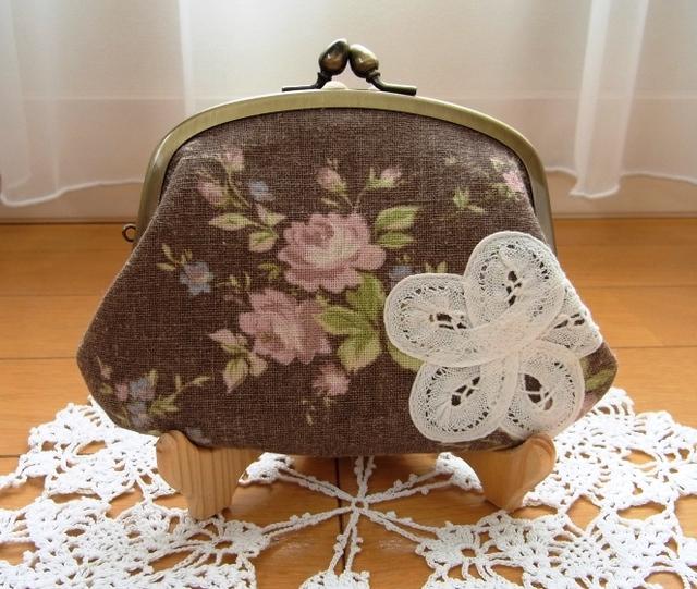 YUWA綿麻スラブ薔薇柄チョコレート色*親子がま口財布