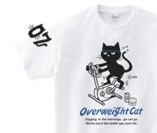 フィットネスバイクと猫 150.160.(女性M.L) S〜XL Tシャツ【受注生産品】