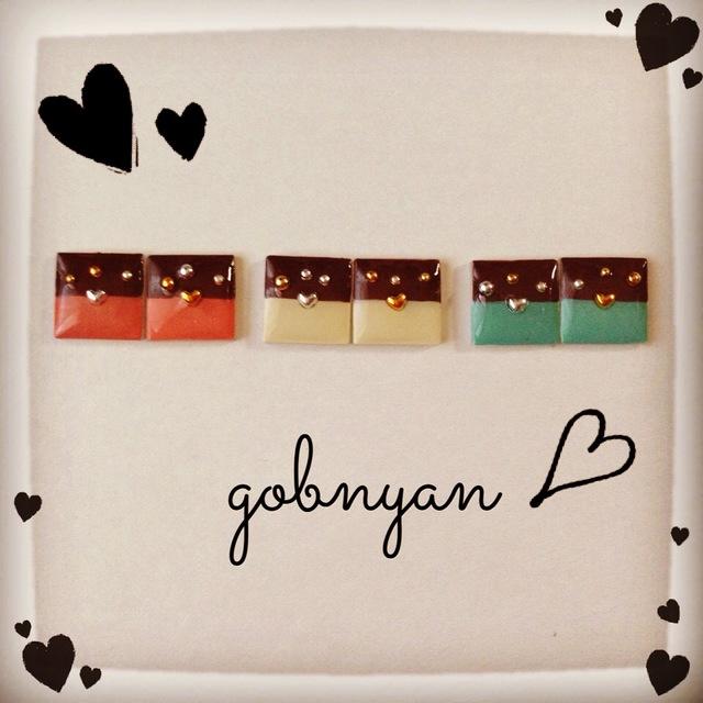 チョコレートとハートのピアス、イヤリング