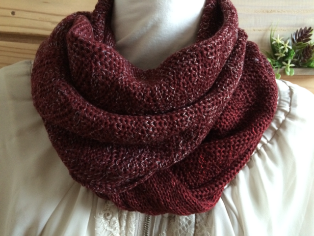 タック編みスヌード あずき色&段染めミックス ねじり入り