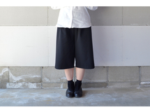 RAISED FABLIC WIDE PANTS BLACK(SHORT)【S~M】
