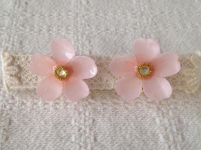染め花を樹脂加工した桜イヤリング(L・ピンク)