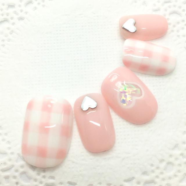 ギンガムチェックネイル/ピンク