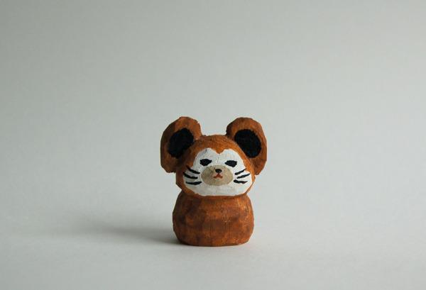 木彫り人形 ねずみ 茶 [MWF-019]