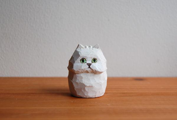 木彫り人形 ネコ ペルシャの白 [MWF-021]