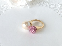 6e*コットンパールバーグ《bague duo-rhinestone/rose》