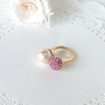 12e*コットンパールバーグ《bague duo-rhinestone/rose》