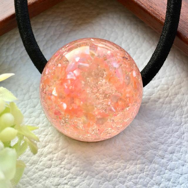 salmon pink flower showerヘアゴム レジン ハンドメイドマーケット minne
