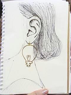真鍮、華奢、電球ピアス
