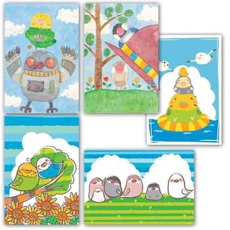 文鳥&インコ ポストカード 5枚セット