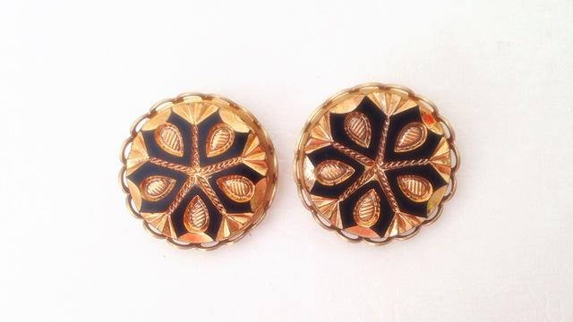 Copper gold スノーフレーク チェコガラス スタッドピアス(チタンポスト)