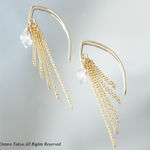 【14KGF/Tiny】Leaf Hook Fringe Earrings, -NY Herkimerdiamond-