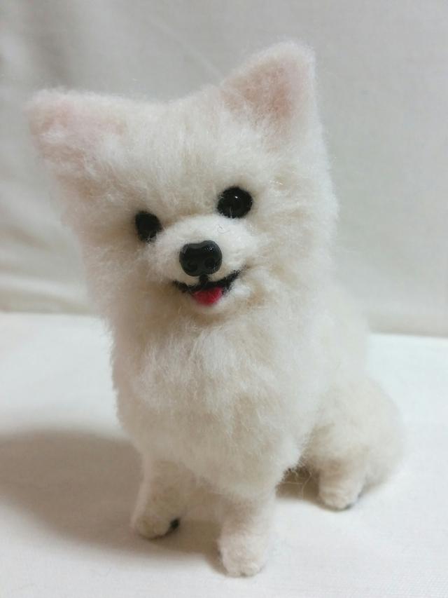 ロングコートチワワ 白 ホワイト チワワ 羊毛フェルト 犬