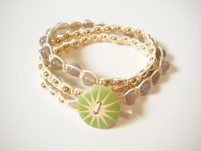 wrap bracelet (green sun, gray agate)