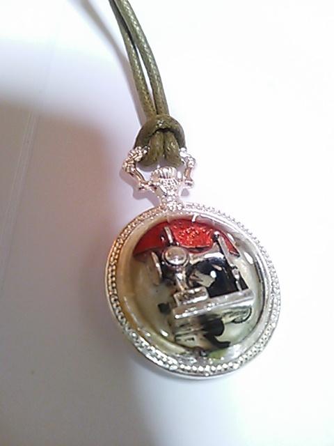 レジン懐中時計 ミニネックレス(アンティークミシン)