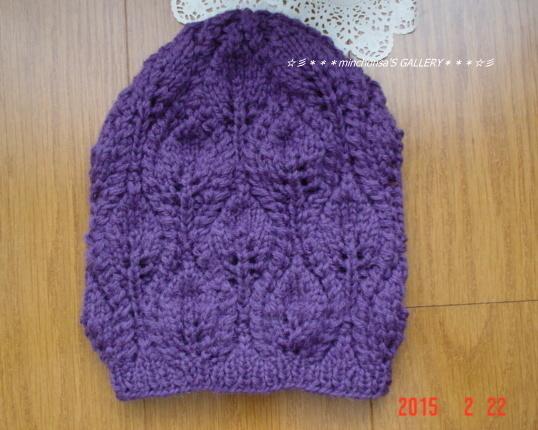 ☆彡木の葉模様のknitcap(濃紫色)