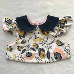 USA cotton flora's oasis rose×navy collar bib