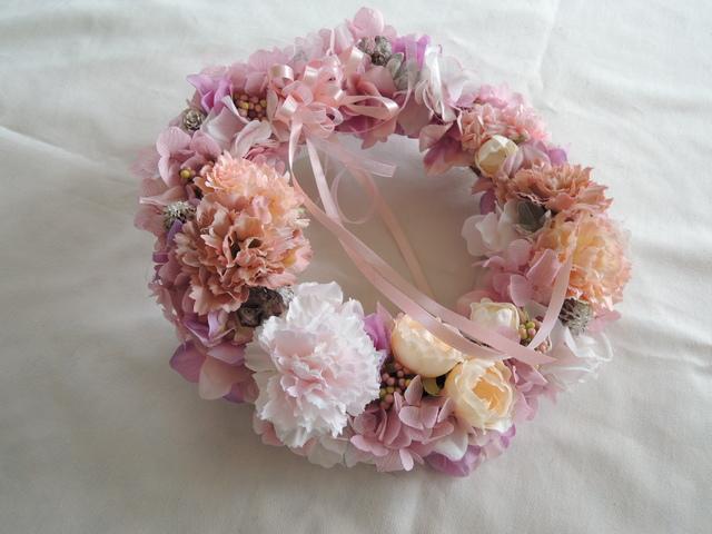 フレンチスタイルの柔らかピンク リース