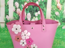 Pink and pink leather bag