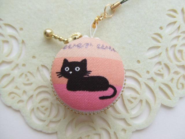 黒猫・カラフル/マカロンコインケース4cm(マカロンポーチ)ストラップ付