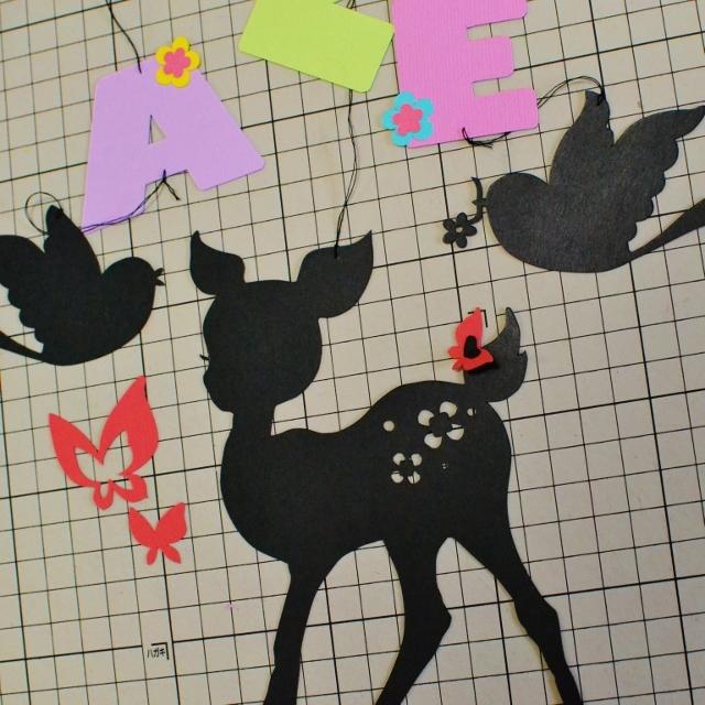 【N様オーダー】バンビと鳥と蝶のお名前モビール (ブラック)