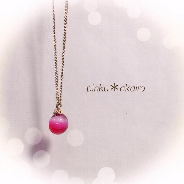 【再販】R-68  一粒のしずく☆ガラス玉のネックレス ピンク
