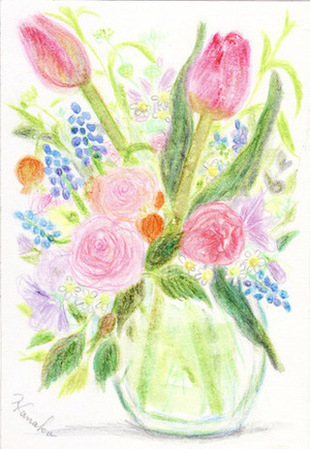 ナチュラル春の花水彩イラスト木製フレーム ハンドメイド