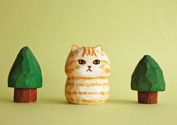 木彫り人形ねこ 茶トラ  [MWF-092]