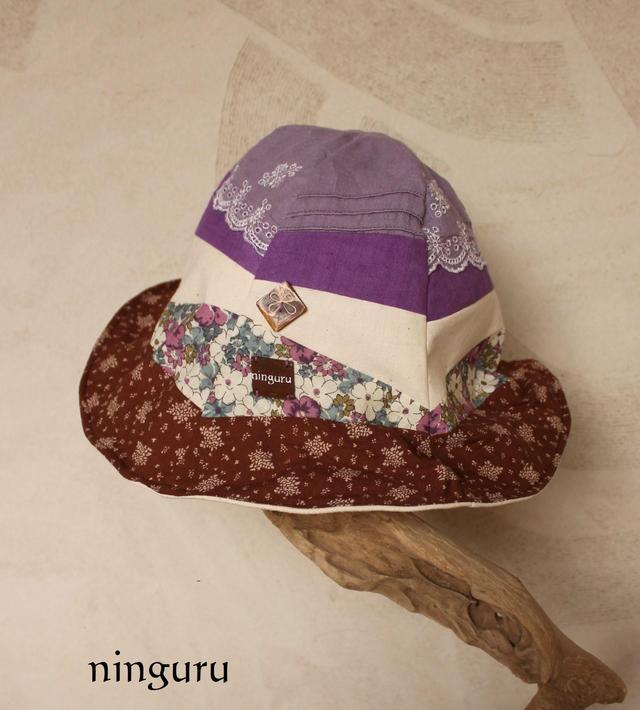 紫×茶の 小花柄チューリップハット