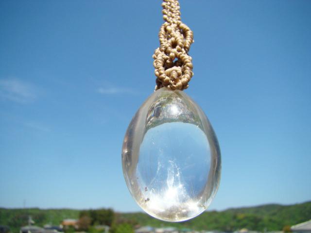 天然石 針入り水晶マクラメ編みネックレス