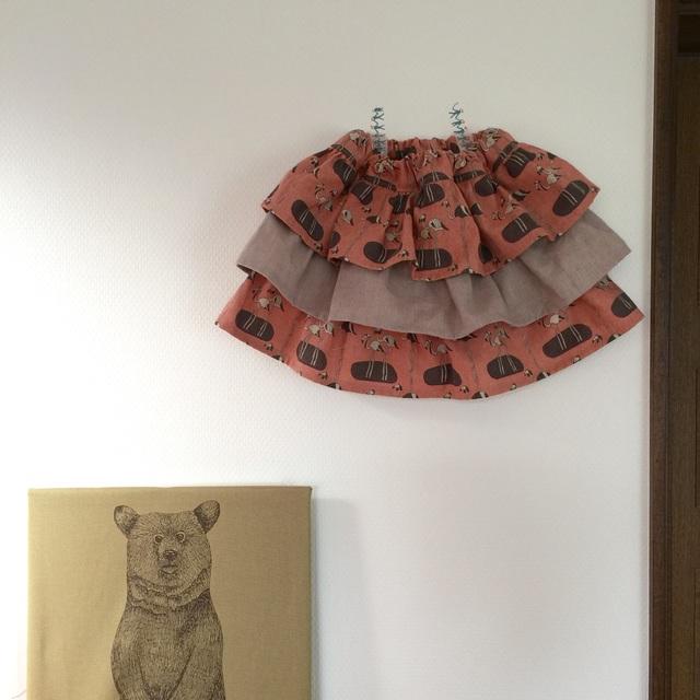 サイズ100* フラミンゴのフリフリフリルスカート*