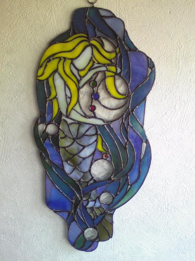 ステンドグラスの壁掛け 人魚