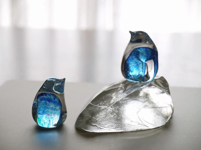 【お気に入り感謝プチセール】ガラスのペンギン ペア 氷山Set  Blue