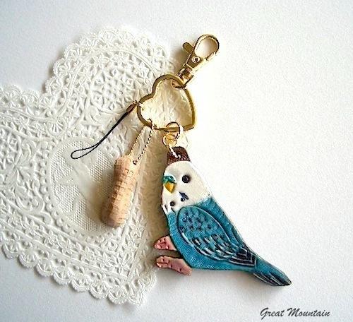 インコ ブルー セキセイインコ キーホルダー チャーム 鳥 ...