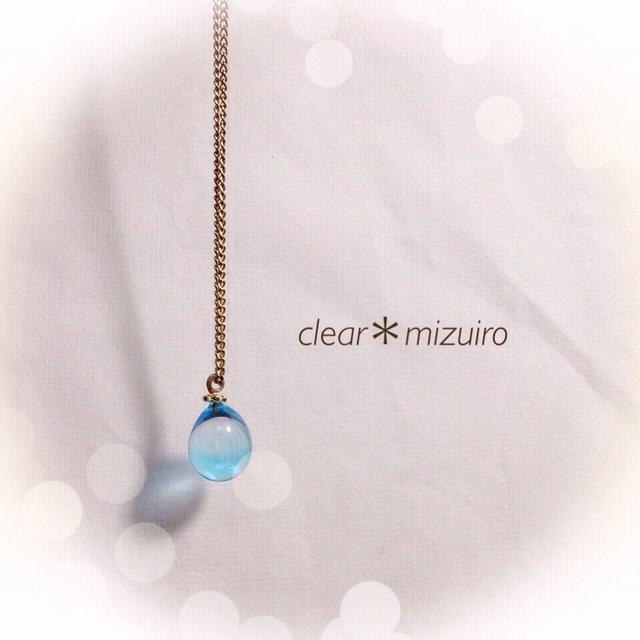 【再販】R-97 一粒のしずく☆ガラス玉のネックレス ブルー