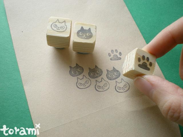 猫の顔+肉球のはんこセット5