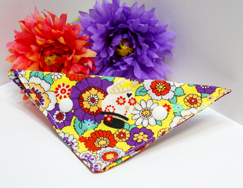 【猫用】お花とスカルのバンダナ(黄×紫)
