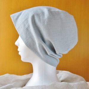 夏に涼しく下地にもなる ガーゼ帽子 ダンガリー水色(CGR-001-M)