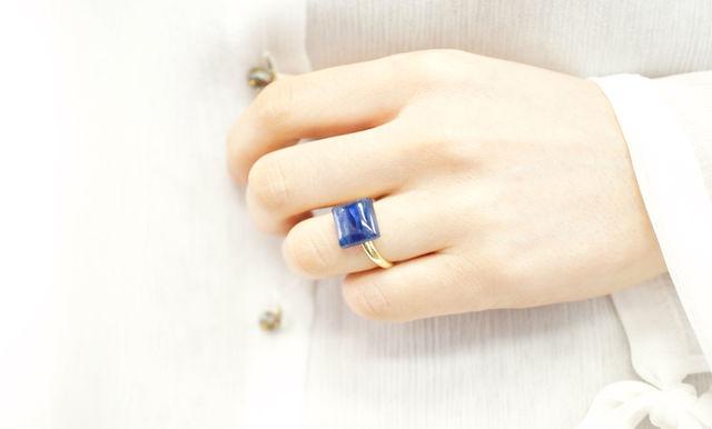 再販】フリーサイズ★レクタングル・カイヤナイトのリング