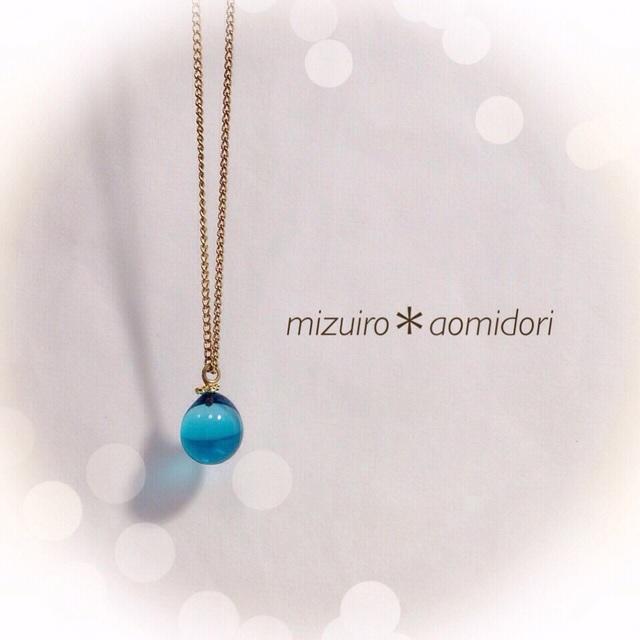 【再販】R-65 一粒のしずく☆ガラス玉のネックレス ブルー
